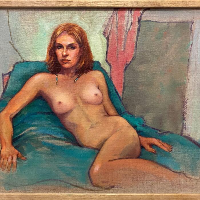 Lara - Female Nude on Turquoise